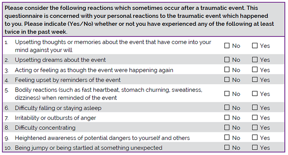 Appendix N: Trauma Screening Questionnaire (TSQ)